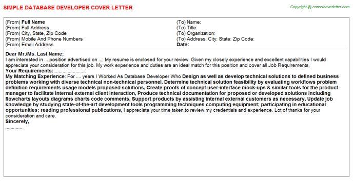 Database Developer Cover Letter