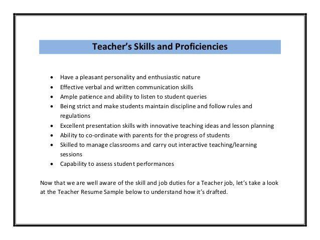Teacher Resume Sample PDF