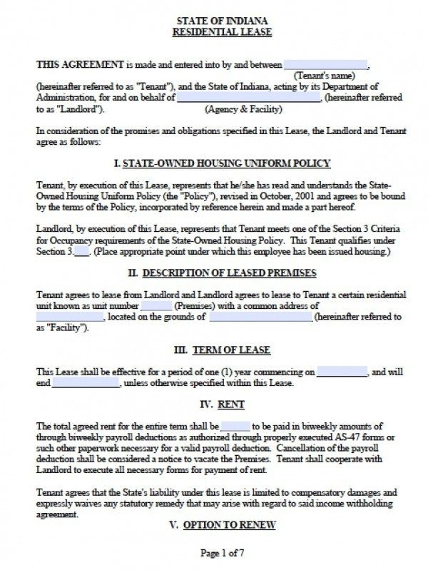 Free Indiana Residential Lease Agreement | PDF | Word (.doc)