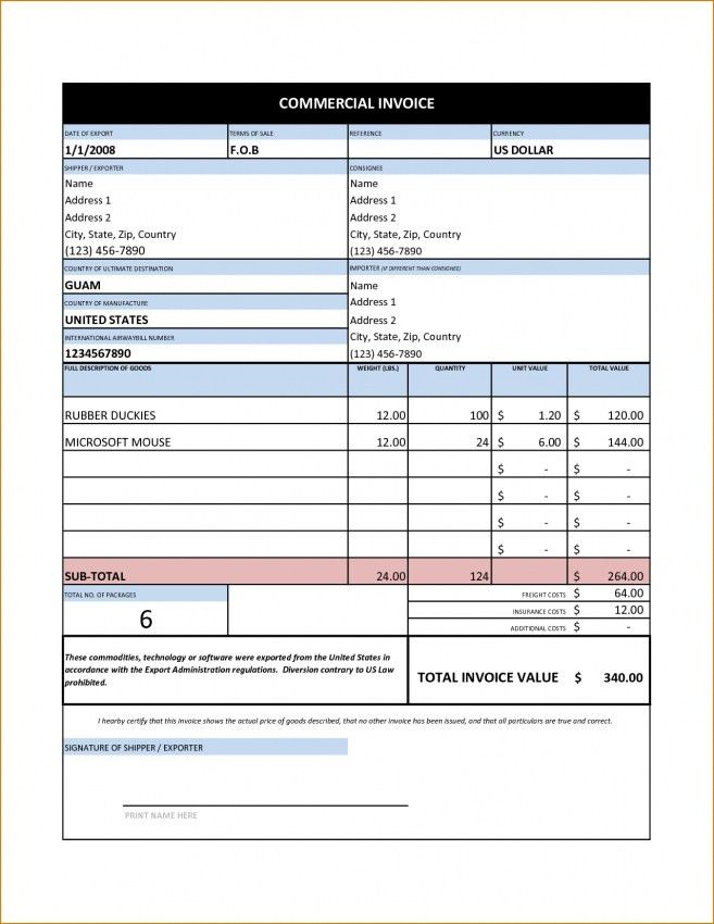 Free Commercial Invoice Template Excel | Design Invoice Template