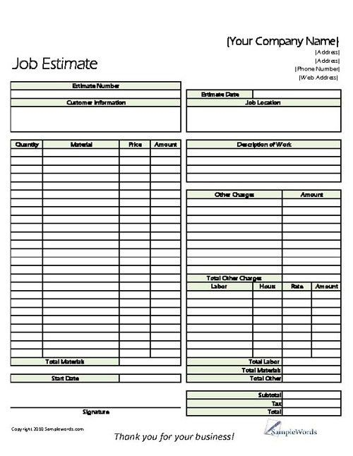 Estimate - Printable Forms & Templates | Proposals, Free printable ...