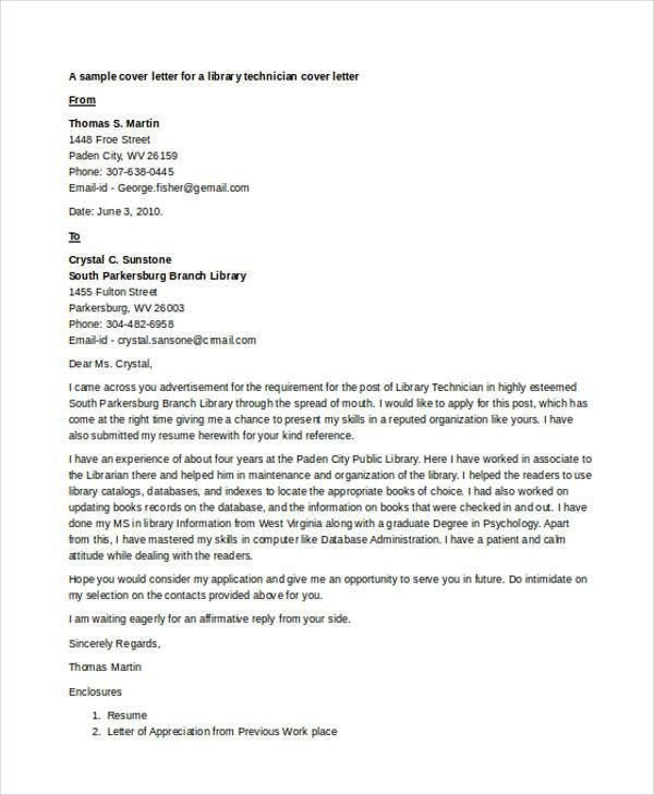 9+ Librarian Cover Letter | Free & Premium Templates