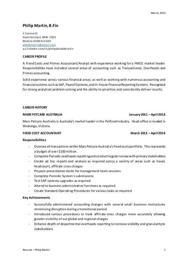 Philip Martin Accounting Resume