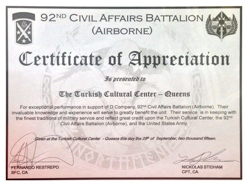 Certificate of Appreciation - Turkish Cultural Center