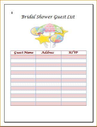 5+ bridal shower guest list | Outline Templates