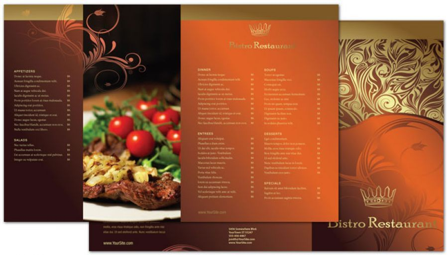 Tri Fold Brochure template for Bistro Restaurant Menu. Order ...