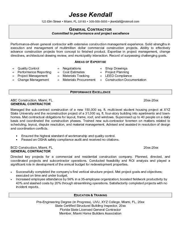 Projects Design General Contractor Resume 6 Construction Resume ...