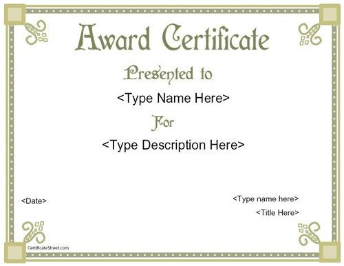 Interesting Award Certificate Template Word Example with White ...