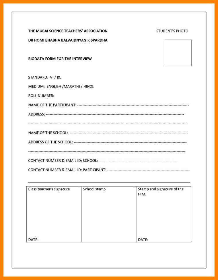 6+ student biodata format | addressing letter