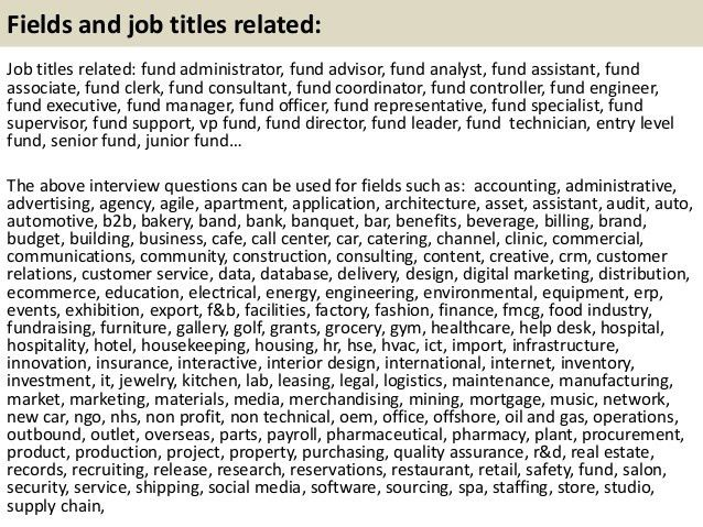 Top 10 fund interview questions with answers