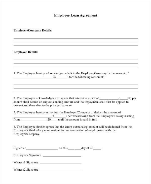 9+ Sample Loan Agreement Form - Sample, Example, Format