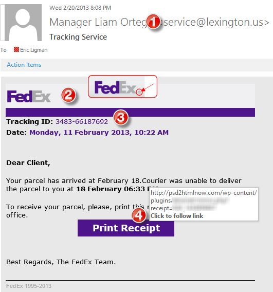 Beware! Fake Fed-Ex shipping phishing scam (and others ...