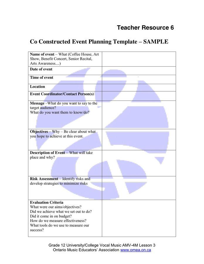 event coordinator template