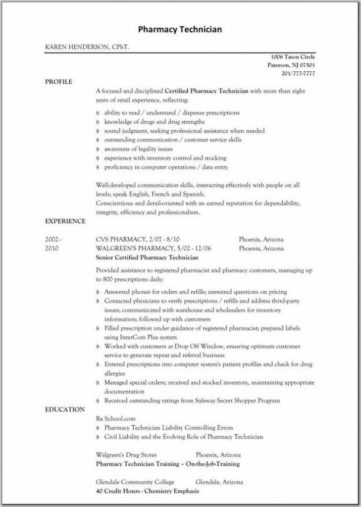 Pharmacy Tech Sample Resume | Experience Resumes