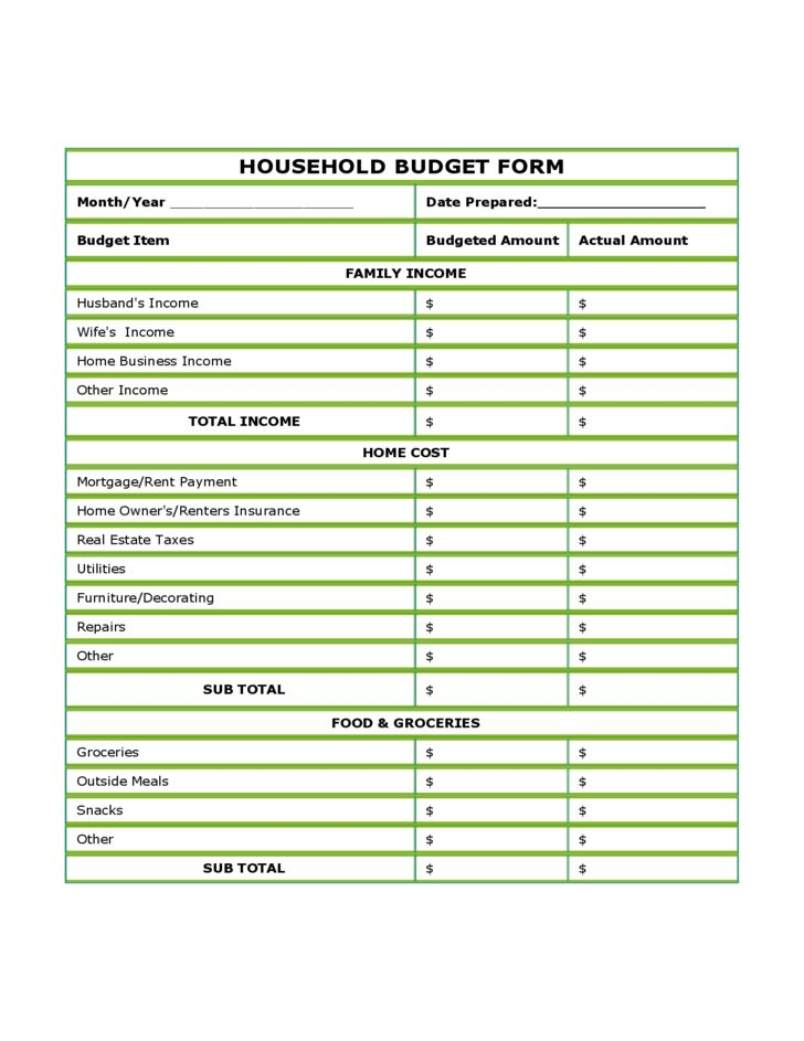 Blank Household Budget Form Free Download
