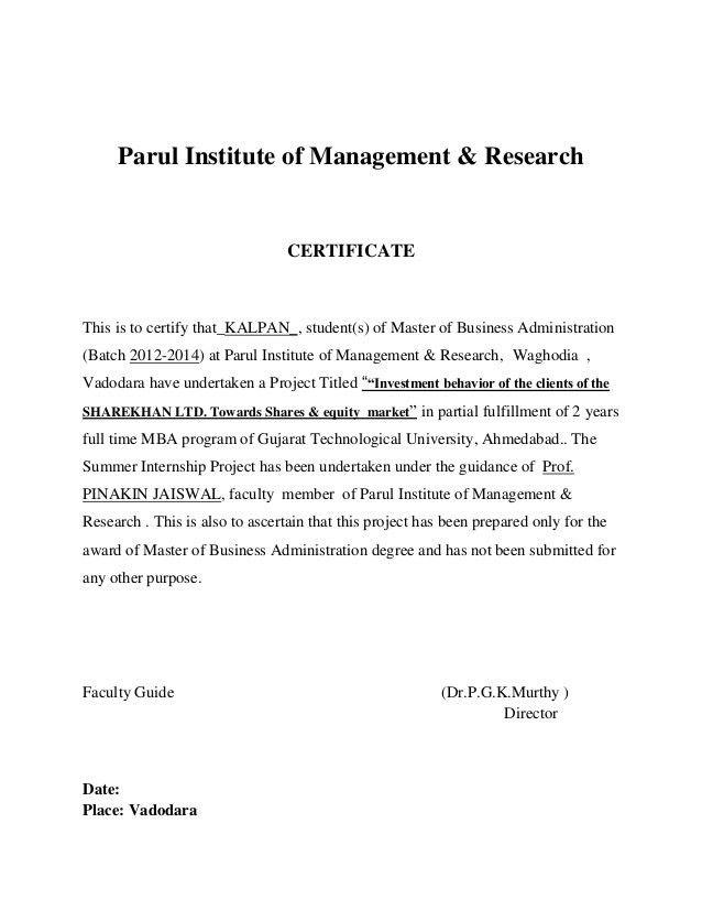 Summer intern ship report on sharekhan equity research kalpan