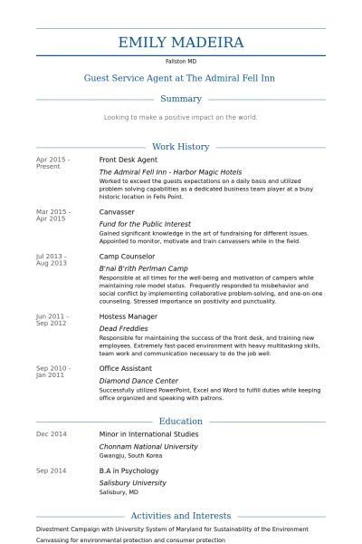 Front Desk Agent Resume samples - VisualCV resume samples database
