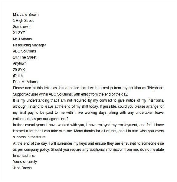 Sample Format Of Resignation Letter Without Notice Period - Resume ...