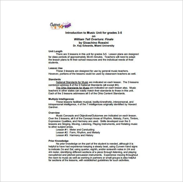 Unit Lesson Plan Template - Free Word, PDF Documents Download ...