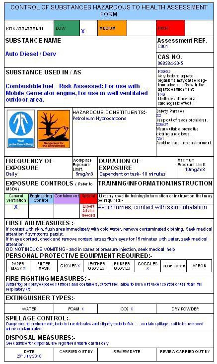 Coshh Assessment Template