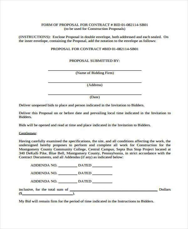 Proposal Form Templates