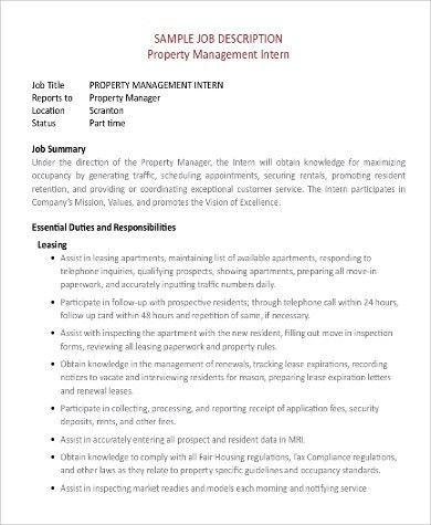 Property Management Job Description Sample - 10+ Examples in Word, PDF