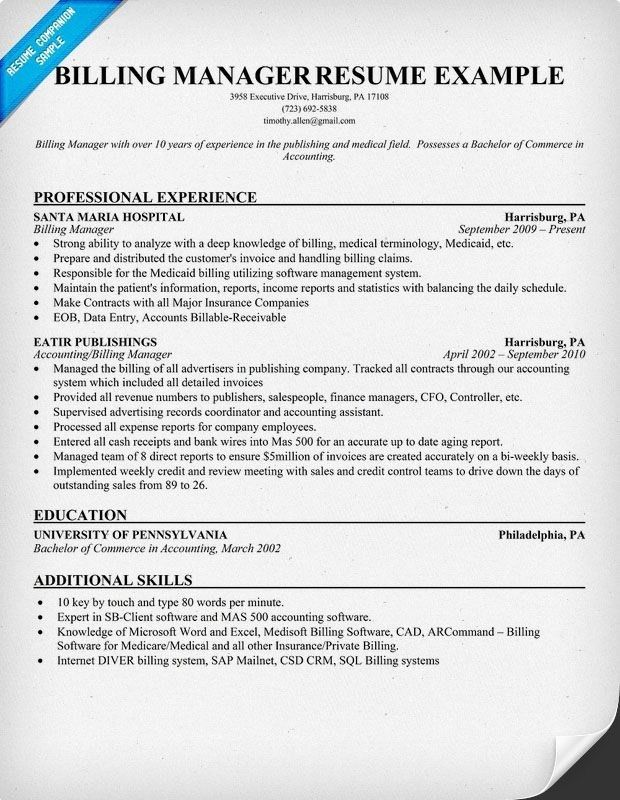 Billing Manager Resume | Best Resume For You