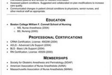 Nurse Anesthetist Resume. example rn resume registered nurse ...