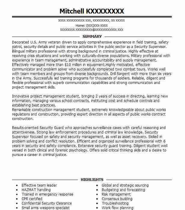 Best Security Supervisor Resume Example | LiveCareer