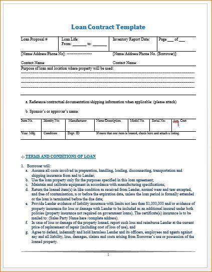 Doc.#468605: Loan Agreement Template Word – 5 Loan Agreement ...