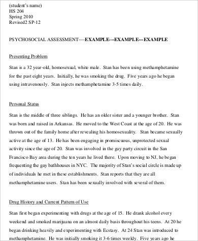 8+ Psychosocial Assessment Example - Free Sample, Example, Format ...