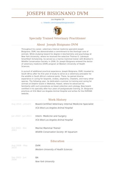 Veterinary Resume samples - VisualCV resume samples database