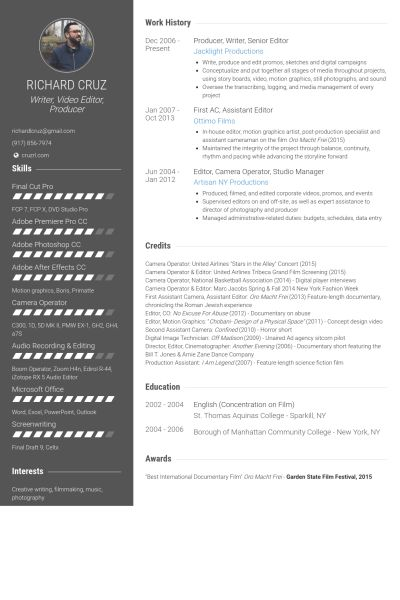 Video Editor Resume samples - VisualCV resume samples database