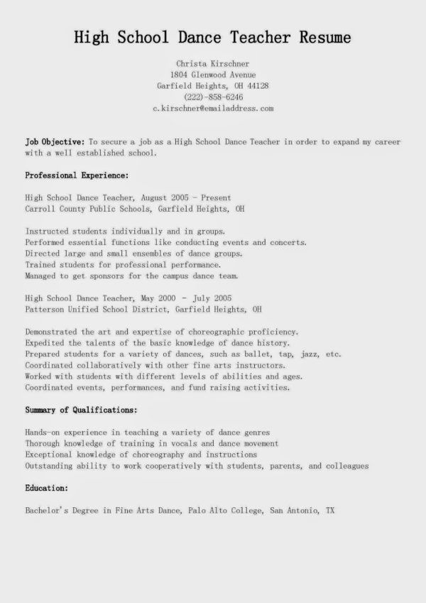 High School Dance Teacher Resume Sample Featuring Awesome Job ...