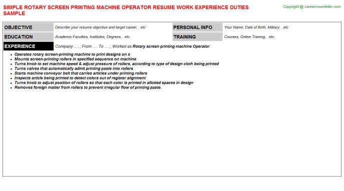 Rotary Screen Printing Machine Operator Job Title Docs