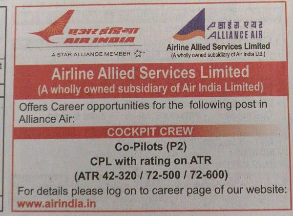 Airline Pilot Jobs in India Air India has announced vacancy of ...
