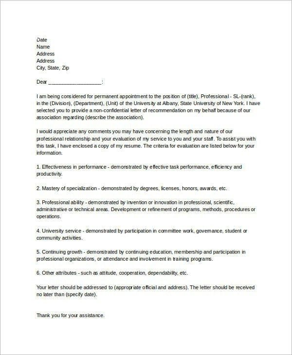 Recommendation Letter Sample For Employee | The Letter Sample