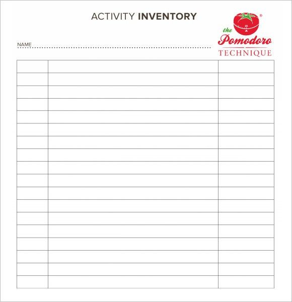 printable inventory template
