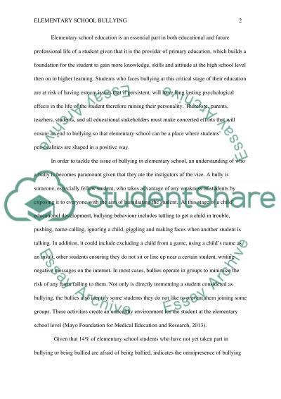 Elementary School Bullying Research Paper Example | Topics and ...