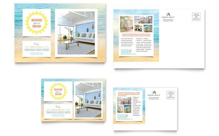 Beach House Postcard Template - Word & Publisher