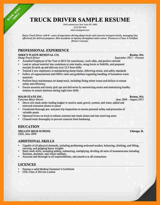 8+ truck driver resume examples | graphic-resume