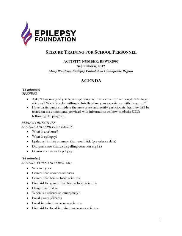 Seizure Training for School Personnel | Epilepsy Foundation