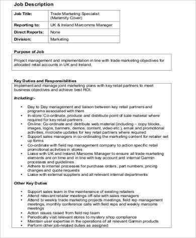 Marketing Specialist Job Description Sample - 9+ Examples in Word, PDF