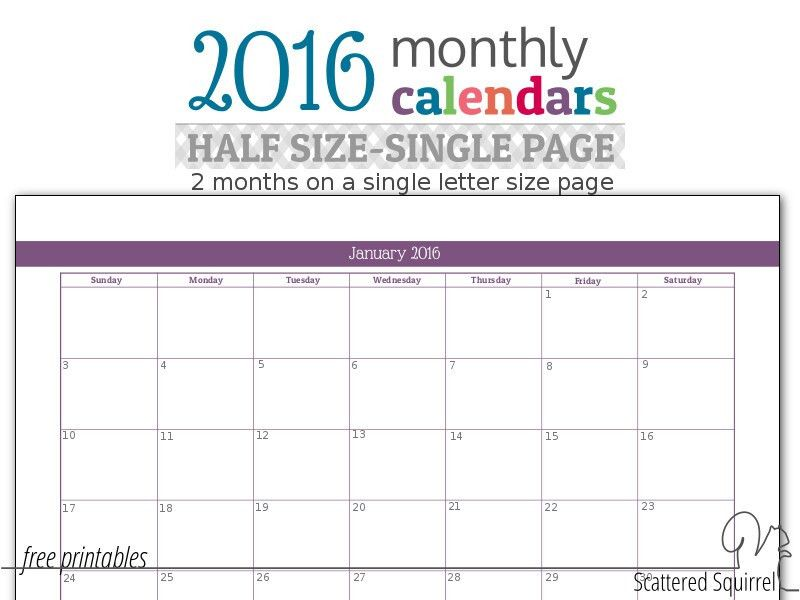 2016 Monthly Calendar Printable 2 Months Per Page | Blank Calendar ...