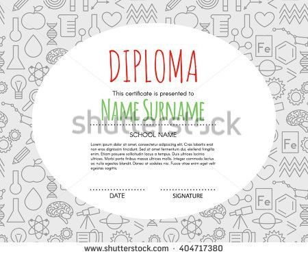 Vector Preschool Elementary Kids Diploma Certificate Stock Vector ...