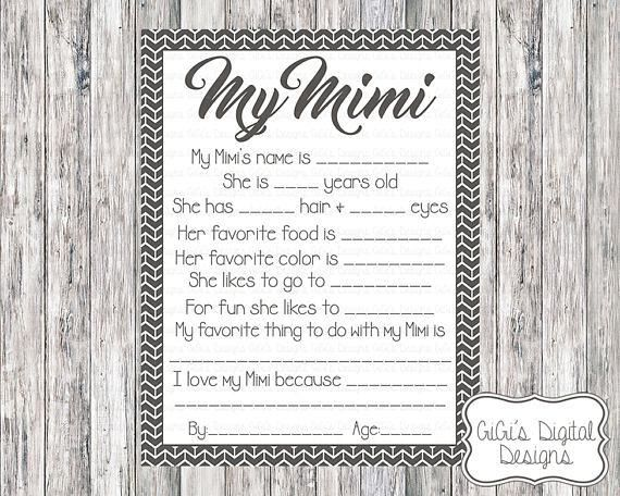 Printable My Mimi Survey All about My Mimi Mimi Survey Mom
