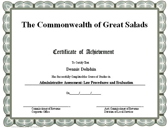 This printable certificate of achievement is bordered in ...