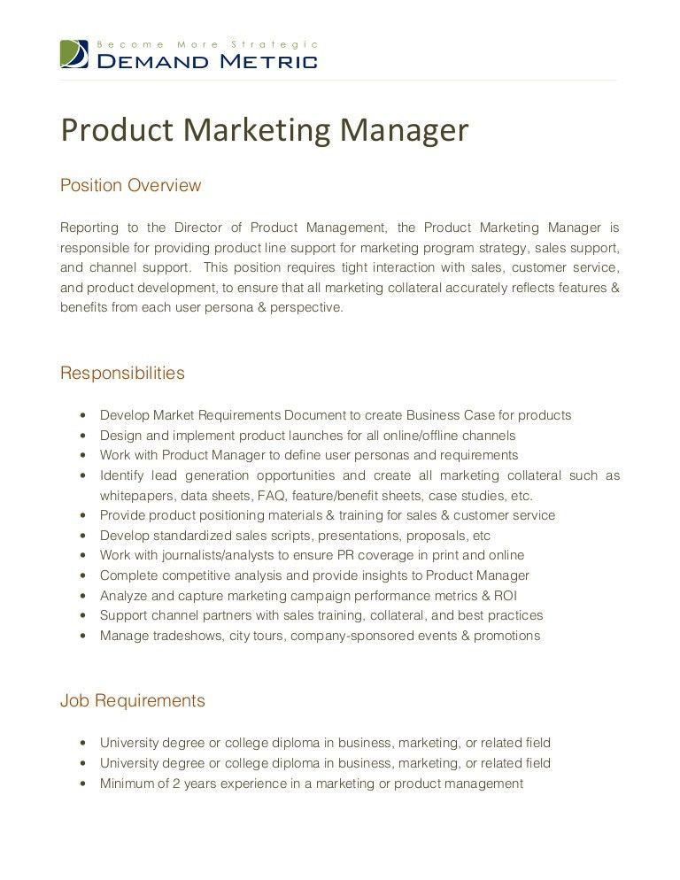 Product Marketing Manager Job Description