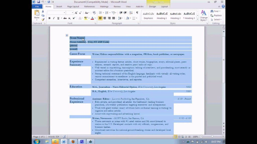 How To Build A Resume Using Microsoft Word | Professional resumes ...