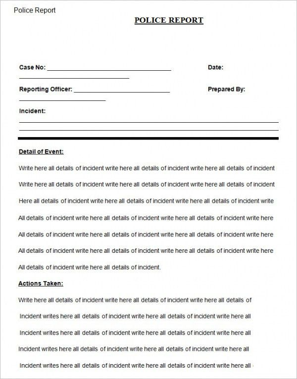 Police Report Template. Printable Sample Police Report Template ...